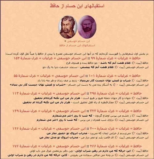 استقبالهای ابن حسام از حافظ
