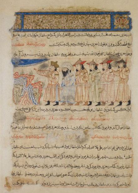 صفحهای از نسخه خطی دیوان امیرمعزی و چند شاعر دیگر در دسترس از طریق سایت موزهٔ بریتانیا