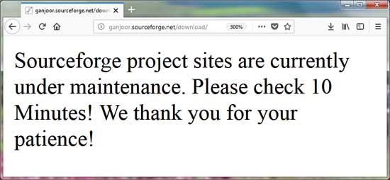 در دسترس نبودن سایت گنجور رومیزی روی سورس فورج